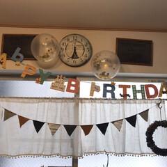 ガーランド/風船/誕生日飾り/誕生日/暮らし 今日は次男のお誕生日!!ダイソーで風船を…