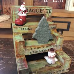 ディスプレイミニステップ/ディスプレイ/クリスマス雑貨/クリスマス/DIY/ハンドメイド/... 夫の作品にクリスマス雑貨を飾ってみました…