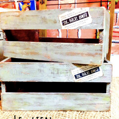 木箱リメイク/フォロー大歓迎/雑貨/100均/ダイソー/インテリア/... 以前の作品☻ダイソーの木箱をリメイクした…(1枚目)