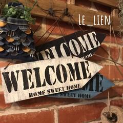 はざいdiy/welcomeboard/Welcomeボード/WELCOME/サインボード/サインプレート/... 端材のベニア板で作ったサインプレートです…