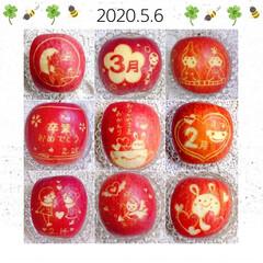 飾り切り/りんご飾り切り りんご飾り切りのまとめです😃(3枚目)