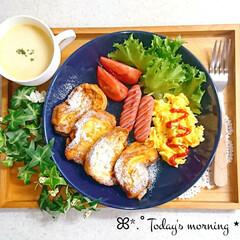 かぼちゃスープ/手作りごはん/おうちごはん/モーニング/朝ごはん 休日のおうちモーニング☕️ 昨日の夜に漬…(1枚目)