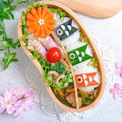 お弁当/ランチ/りんご飾り切り/お昼ごはん/こいのぼり弁当/こいのぼり/... 今日の娘弁当です❤️ 30gのミニおにぎ…(2枚目)