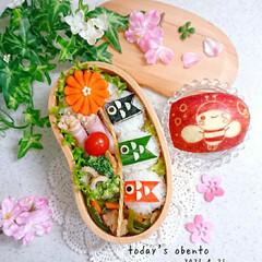 お弁当/ランチ/りんご飾り切り/お昼ごはん/こいのぼり弁当/こいのぼり/... 今日の娘弁当です❤️ 30gのミニおにぎ…(1枚目)