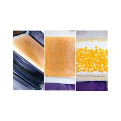 夏スイーツ/手作りおやつ/手作りお菓子/マンゴーロールケーキ/マンゴーロール/ロールケーキ/... 久しぶりにロールケーキ❤️ 生地にうつシ…(5枚目)