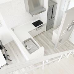 ホワイトインテリア/グレーインテリア/L型キッチン/オープンステア/キッチンインテリア/アクセントクロス/... \キッチン/