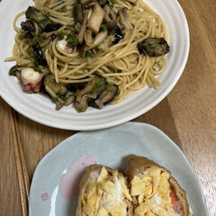 和風パスタ/簡単晩ご飯 昨日の夕飯、もう暑いし作るのも面倒だから…