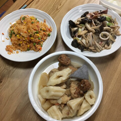 食事情 昨日の晩ご飯、残り物でチャチャっと簡単に(1枚目)