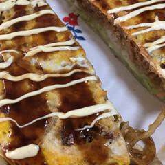 広島焼き お昼に広島焼きを作って食べました。旦那さ…(2枚目)