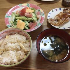 たけのこごはん/お昼ご飯 今日のお昼ご飯です。実家の母から竹の子を…