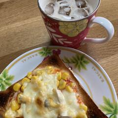 朝食/ピザトースト/のがみのパン 今朝の朝食 のがみのパンでピザトースト作…(1枚目)