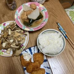 かぼちゃスープ/晩ご飯/大根 昨日の晩ご飯です。 実家母から大根を入院…(1枚目)