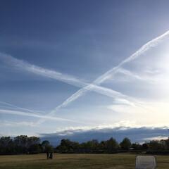 飛行機雲/飛行機 飛行機雲✈️が交差してました。