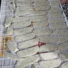 ワイヤーネット/揚げ餅/手作り餅/お餅乾燥/お餅 ワイヤーネットの上にお餅のせて乾かし中 …