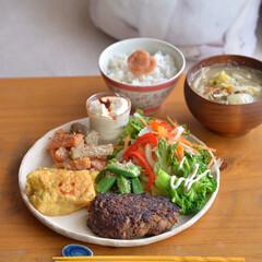 野菜たっぷり/お椀/木のお椀/ワンプレートごはん/カフェ風ごはん/昼ごはん/... いつかのおひるごはん、 鰯ハンバーグと野…