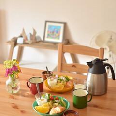 シンプルインテリア/暮らし/週末/ふたりごはん/おうちカフェ/おうちごはん/... 週末の朝ごはん。 急いでお出かけだったの…