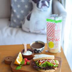 おうちじかん/暮らし/手作りパン/野菜好き/ブランチ/サンドイッチ/...  おうちブランチ。  手作りくま食パンで…