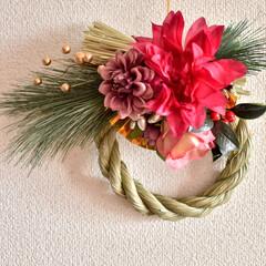 ナチュラルキッチン/しめ縄リース/しめ縄/お正月飾り/お正月/ダイソー/... しめ縄飾りつくりました!  トップのは自…(3枚目)