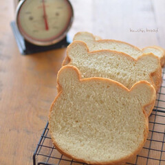 くま好き/くま食パン/パン作り/おうちパン/手作りパン/料理好き/... いつか焼いた食パン。  食パンを焼くとき…
