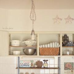 ふたりぐらし/転勤族/賃貸インテリア/カフェ風インテリア/キッチンインテリア/はじめてフォト投稿/... 今のキッチンの吊り棚。  もともと付いて…
