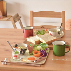 乃が美/朝ごはん/転勤族/ワンプレート/二人暮らし/令和の一枚/... かなり前の朝ごはん、 のがみのパンを買っ…