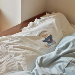 転勤族/ベッドルーム/アメリカン/賃貸インテリア/二人暮らし/枕カバー/... お気に入りの枕カバーは もうかなり前にア…