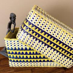 インテリア雑貨/エスニックインテリア/カラフル/アフリカ雑貨/アフリカン/雑貨/... * 夏の香りを感じながら♬ 黄色とネイビ…