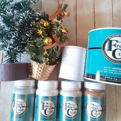 水性 塗料 ペンキ 室内 屋外 フリーコート 200ml ブルーヘイズ(ペンキ、塗料)を使ったクチコミ「クリスマスツリーリメ缶できました!リメ缶…」(2枚目)