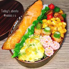ランチ/お昼ごはん/鮭弁当/愛妻弁当/夫弁当/旦那弁当/... 旬の野菜をたっぷりと✨ 鮭どーーーん‼️…