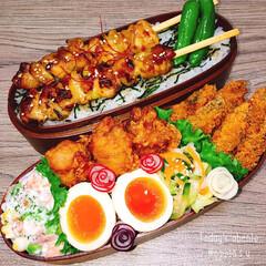 おべんとう/味玉/夕飯スライド/簡単レシピ/焼鳥/焼き鳥/... 焼き鳥弁当➰➰  あーあつい。  ◾焼き…