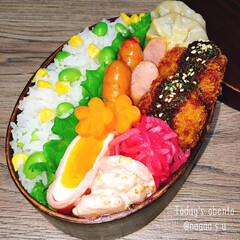 お昼ご飯/曲げわっぱ弁当/わっぱ弁当/エビマヨ/混ぜご飯/ロールカツ/... お豆さんの混ぜご飯➰➰  ◾コーンと枝豆…