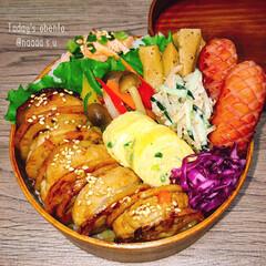 曲げわっぱ弁当/わっぱ弁当/鶏つくね/手作り弁当/おべんとう/ボリューム満点/... 鶏つくねの蓮根はさみ焼き弁当➰  ◾ご飯…