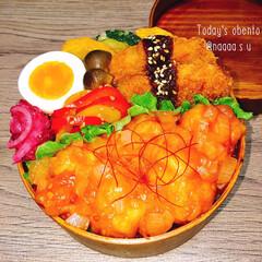 おべんとう/簡単レシピ/鶏胸肉/鶏チリ/わっぱ/曲げわっぱ弁当/... 鶏チリどどーーーん‼️‼️  ◾ご飯(下…