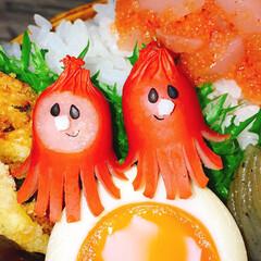 サラダ/味玉/タコさんウインナー/キャラ弁/おひるごはん/わっぱ弁当/... ポンコツっぽいタコさん弁当w   ◾ご飯…(2枚目)