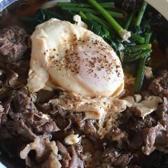 レシピ/料理/うどん 牛肉とほうれん草うどん  牛肉 100g…