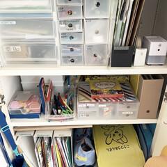 子供部屋/子ども部屋/子ども部屋収納/学用品/学用品の収納/学用品収納/... この春新しく設えた子どもの学用品スペース…