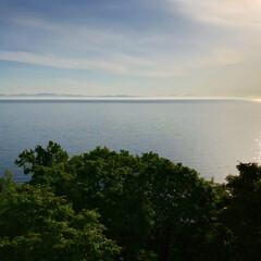 旅館/海/サンライズ/小樽/北海道/おでかけワンショット/... 小樽の丘の上の旅行から サンライズ後の海…