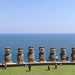 モアイ像/サンメッセ日南/宮崎/おでかけワンショット/旅行/風景 サンメッセ日南のモアイ像は実物大で、海を…