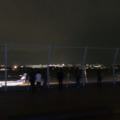 展望デッキ/シルエット/夜景/空港/伊丹空港/おでかけワンショット 伊丹空港の展望デッキから 空港と街の夜景…