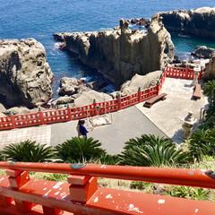 宮崎/鵜戸神社/旅行/風景/おでかけワンショット 宮崎の鵜戸神社 鳥居のオレンジが海によく…