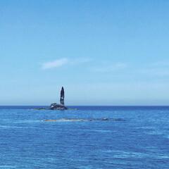 奇岩/ローソク岩/余市/積丹半島/北海道/おでかけワンショット ローソク岩と積丹ブルーが美しい