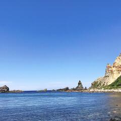 透明な海/奇岩/積丹ブルー/島武意海岸/積丹半島/北海道/... 積丹半島の島武意海岸に降りてみると絶景が…