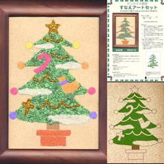 リース/クリスマスツリー飾り/クリスマス限定品/装飾/デジタル版画/インテリア/... 砂絵の新しい形^ ^ ベースシート自体が…