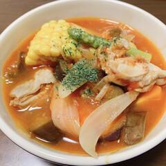 おうちごはん/薬膳/簡単レシピ/薬膳料理/健康/おすすめアイテム/... 夏野菜のトマトスープ   ジメジメして蒸…