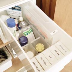 白色ワセリン HGワセリン 500g×4個(ボディクリーム)を使ったクチコミ「わが家のお薬の収納です。 ニトリの「マル…」