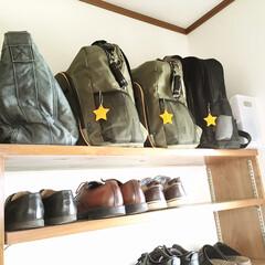 玄関収納/もしもの備え/非常持ち出し袋/防災リュック/防災グッズ/防災/... 9月と3月に、防災バッグの中身の点検をし…