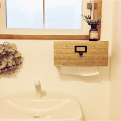 トイレ/セリア/ペーパータオルホルダー/暮らし/DIY/100均 セリアの材料を使って作った、ペーパータオ…