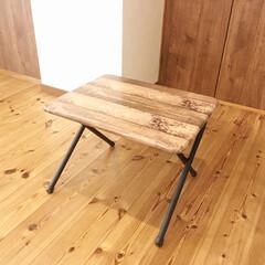 テーブルリメイク/リメイクシート/リメイク/男前/DCM/ダイソー/... 息子の部屋で使っていたミニテーブルを、リ…