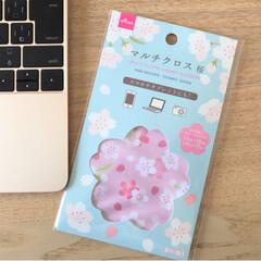 ピンク/ダイソー/100均/雑貨/おすすめアイテム ダイソーの「マルチクロス桜」✨スマホやタ…(2枚目)