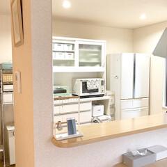 イデアコ ティッシュケース ラグジュアリーなホテル仕様 グランルーフ グレー   ideaco(その他キッチン、日用品、文具)を使ったクチコミ「キッチンカウンターにはtosca(トスカ…」(1枚目)